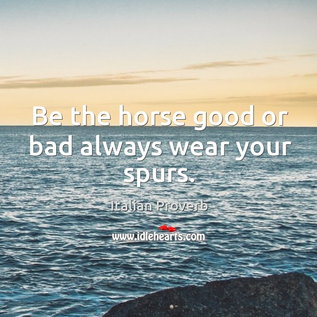 Image, Be the horse good or bad always wear your spurs.