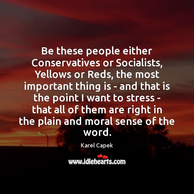 Be these people either Conservatives or Socialists, Yellows or Reds, the most Karel Capek Picture Quote