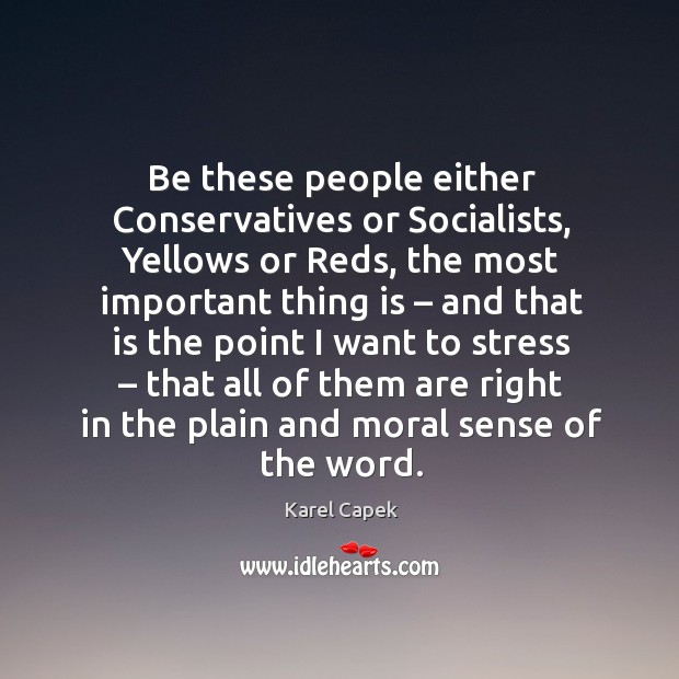 Be these people either conservatives or socialists Karel Capek Picture Quote