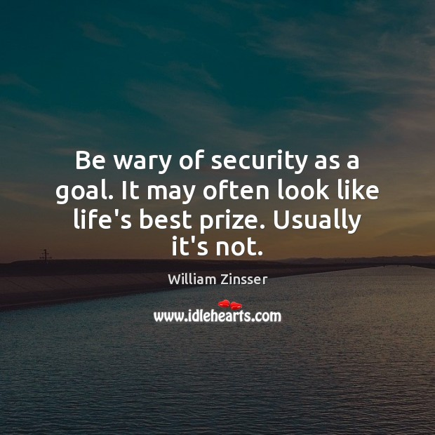 Be wary of security as a goal. It may often look like life's best prize. Usually it's not. Goal Quotes Image
