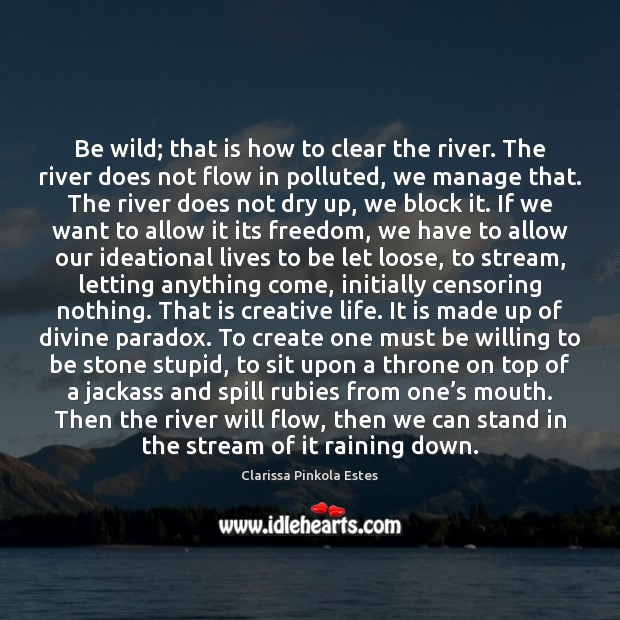 Image, Be wild; that is how to clear the river. The river does