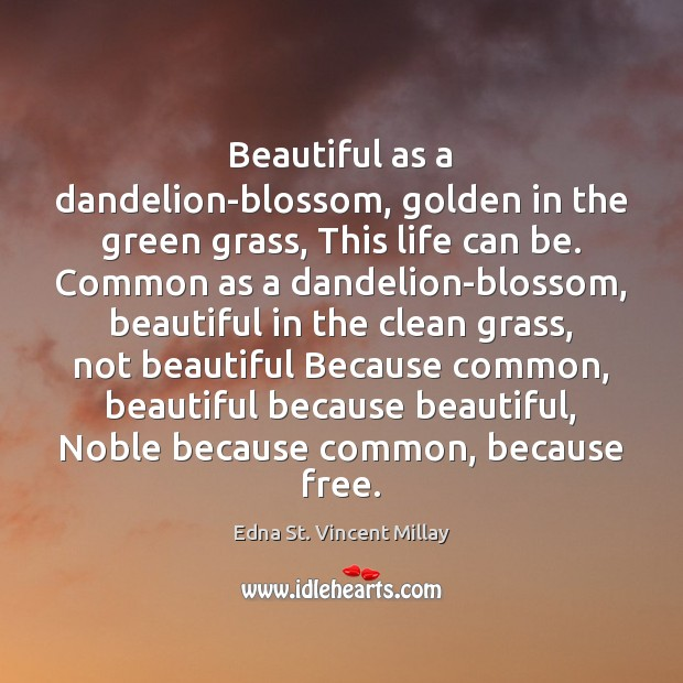 Beautiful as a dandelion-blossom, golden in the green grass, This life can Edna St. Vincent Millay Picture Quote