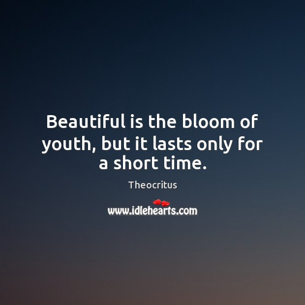 Beautiful is the bloom of youth, but it lasts only for a short time. Image