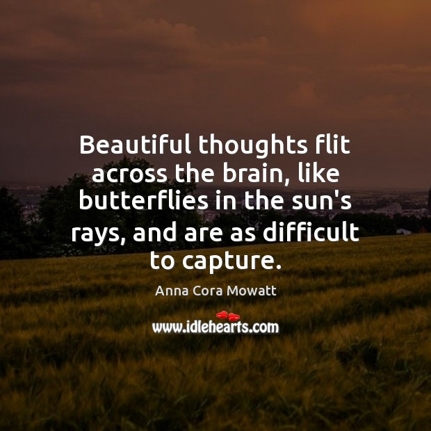 Image, Beautiful thoughts flit across the brain, like butterflies in the sun's rays,
