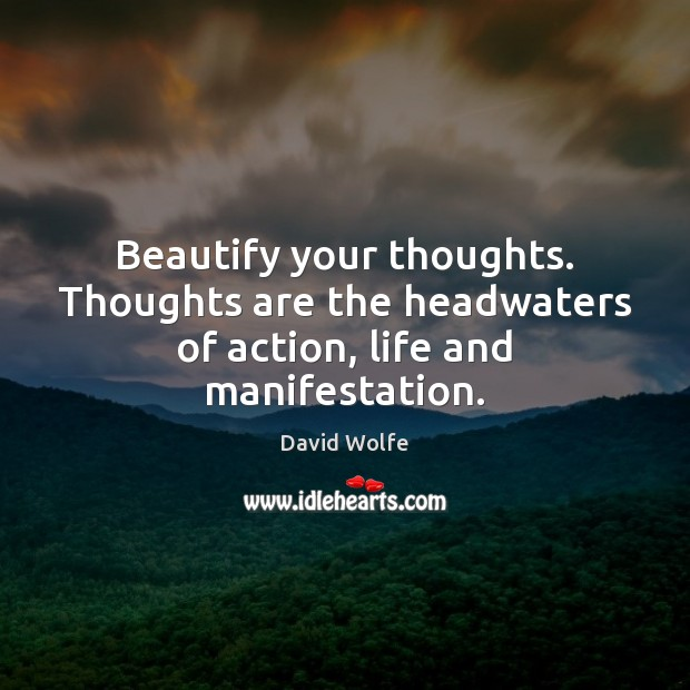 Beautify your thoughts. Thoughts are the headwaters of action, life and manifestation. David Wolfe Picture Quote