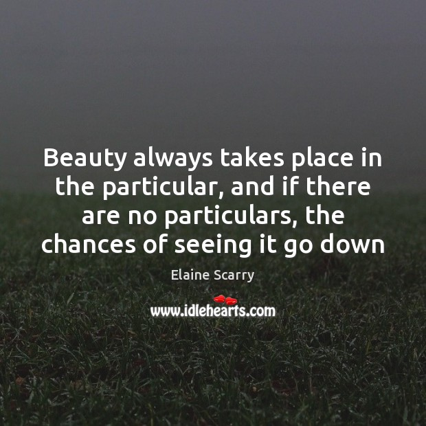 Beauty always takes place in the particular, and if there are no Image