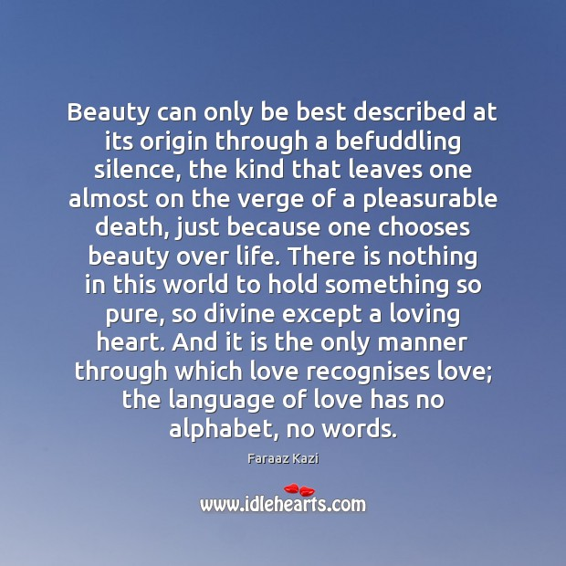 Beauty can only be best described at its origin through a befuddling Image