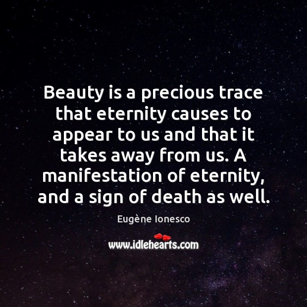 Beauty is a precious trace that eternity causes to appear to us Beauty Quotes Image