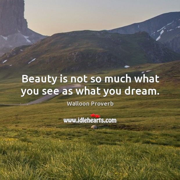 Image, Beauty is not so much what you see as what you dream.