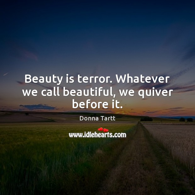 Beauty is terror. Whatever we call beautiful, we quiver before it. Donna Tartt Picture Quote
