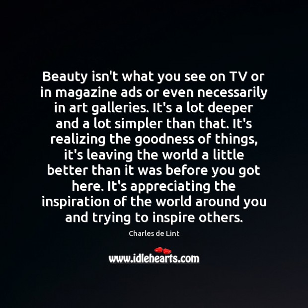 Beauty isn't what you see on TV or in magazine ads or Charles de Lint Picture Quote