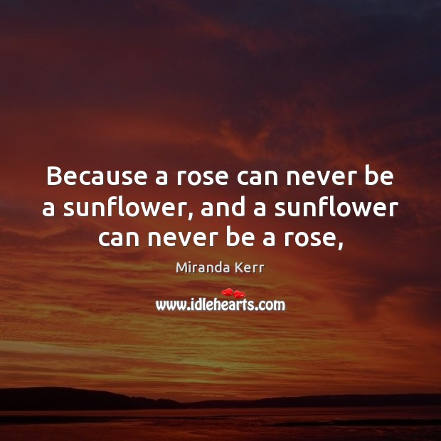 Image, Because a rose can never be a sunflower, and a sunflower can never be a rose,