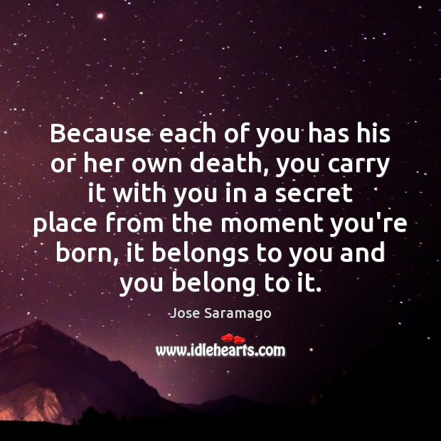 Image, Because each of you has his or her own death, you carry