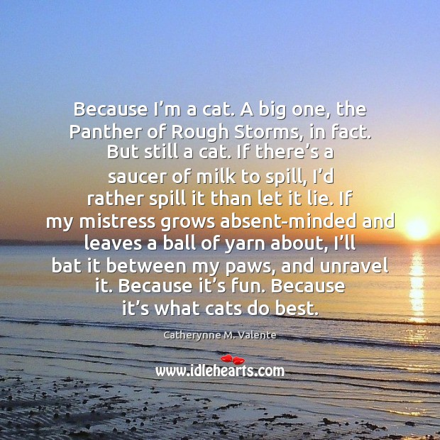 Because I'm a cat. A big one, the Panther of Rough Catherynne M. Valente Picture Quote