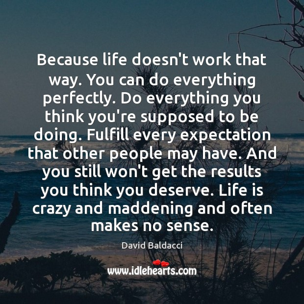 Because life doesn't work that way. You can do everything perfectly. Do David Baldacci Picture Quote