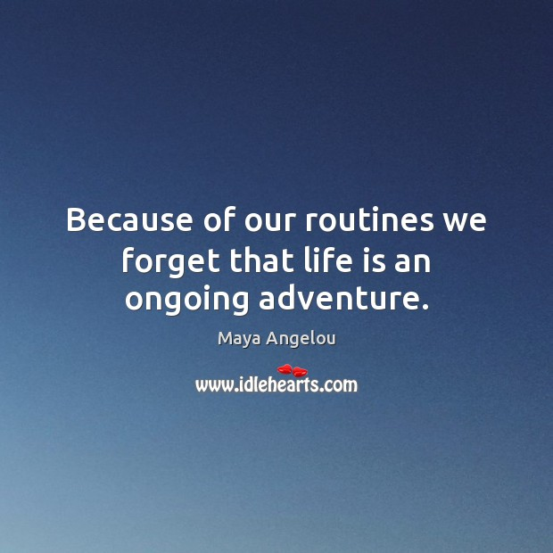 Image, Because of our routines we forget that life is an ongoing adventure.