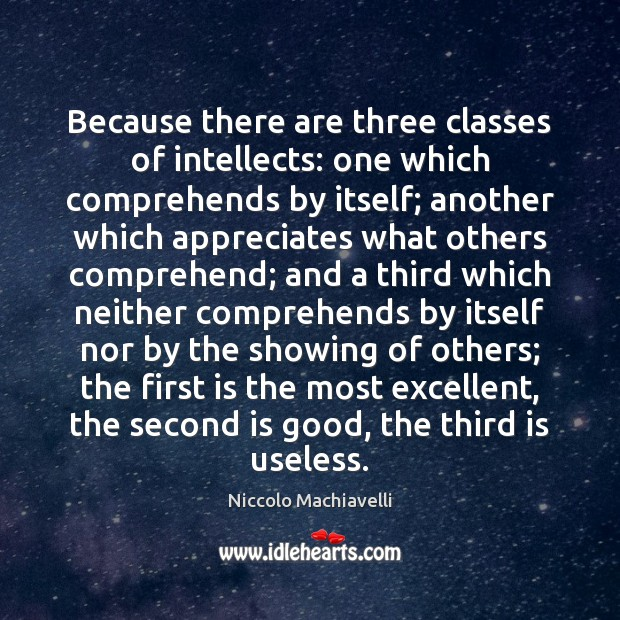 Because there are three classes of intellects: one which comprehends by itself; Niccolo Machiavelli Picture Quote