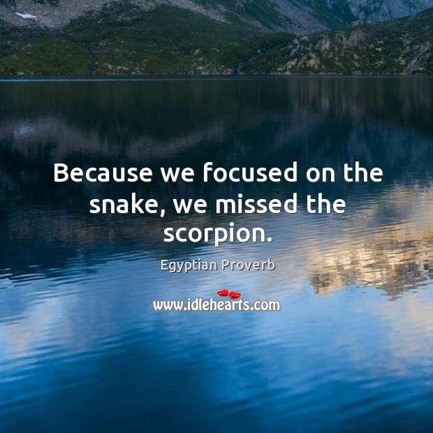 Because we focused on the snake, we missed the scorpion. Egyptian Proverbs Image