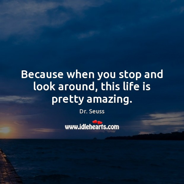 Because when you stop and look around, this life is pretty amazing. Dr. Seuss Picture Quote
