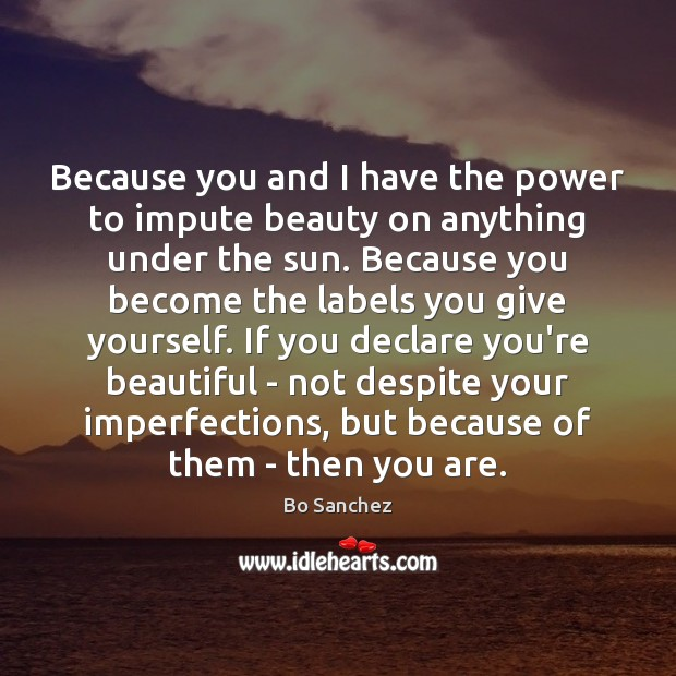 Because you and I have the power to impute beauty on anything Bo Sanchez Picture Quote