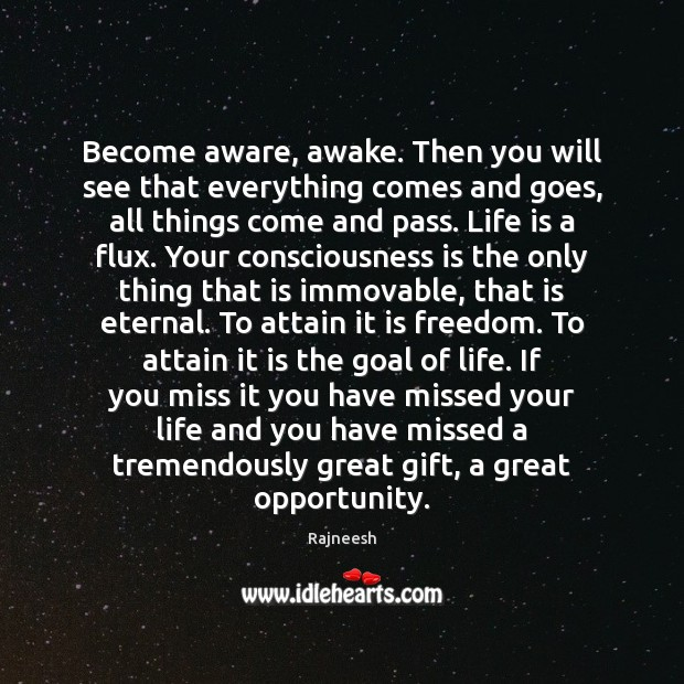 Become aware, awake. Then you will see that everything comes and goes, Rajneesh Picture Quote