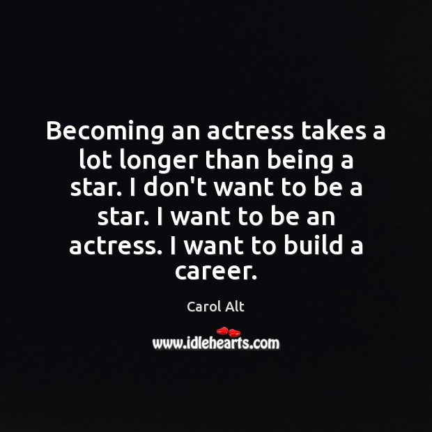 Becoming an actress takes a lot longer than being a star. I Carol Alt Picture Quote