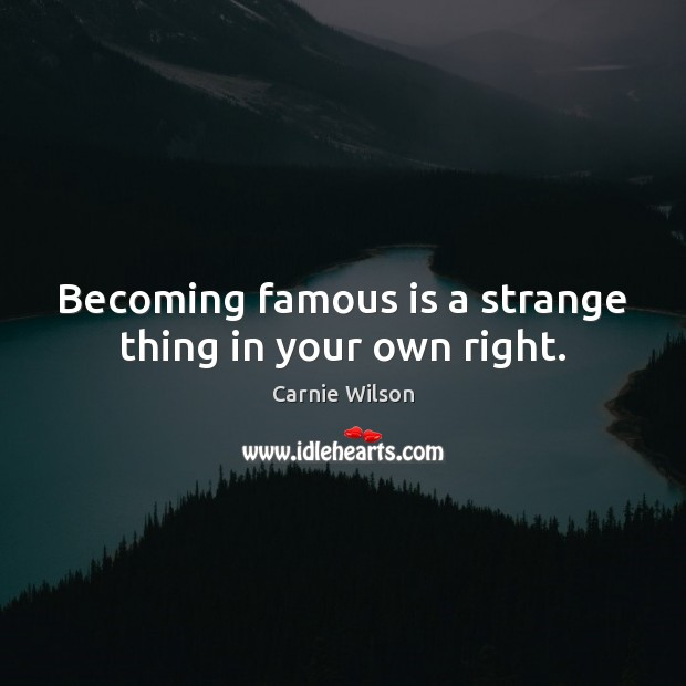 Image, Becoming famous is a strange thing in your own right.