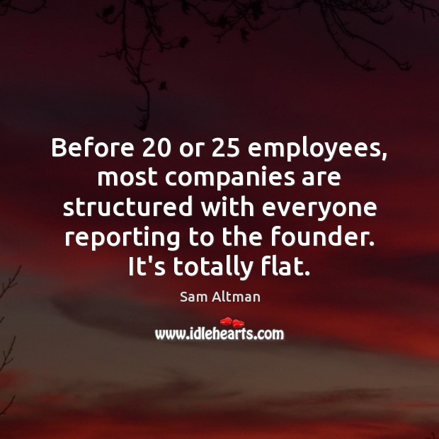 Image, Before 20 or 25 employees, most companies are structured with everyone reporting to the