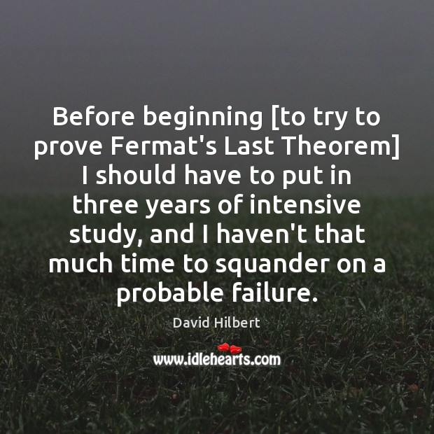 Before beginning [to try to prove Fermat's Last Theorem] I should have David Hilbert Picture Quote