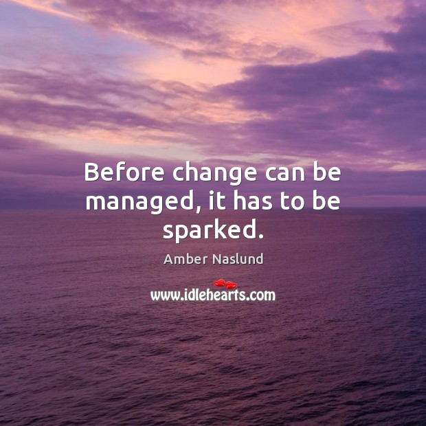 Image, Before change can be managed, it has to be sparked.