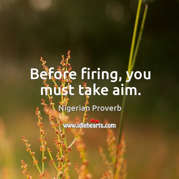 Image, Before firing, you must take aim.