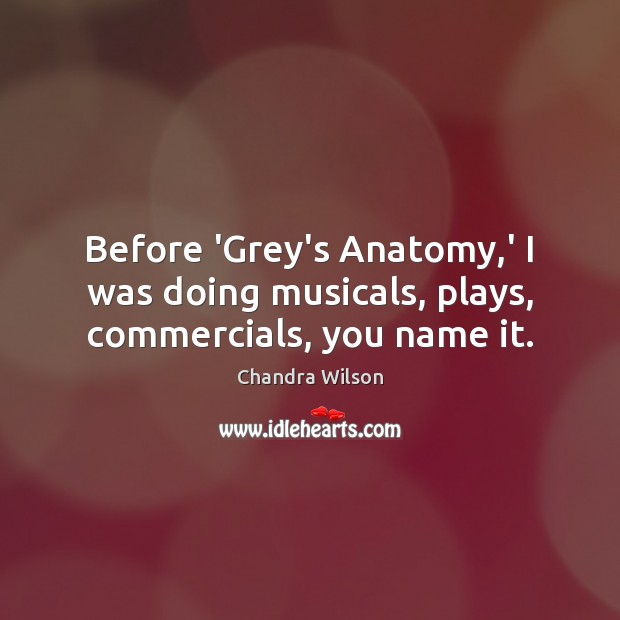 Before 'Grey's Anatomy,' I was doing musicals, plays, commercials, you name it. Image