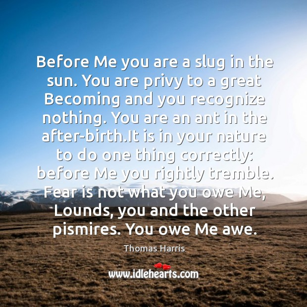 Before Me you are a slug in the sun. You are privy Thomas Harris Picture Quote