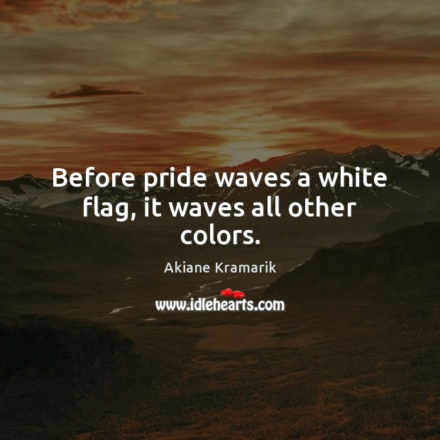 Image, Before pride waves a white flag, it waves all other colors.