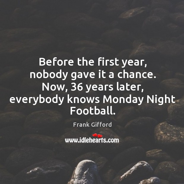 Image, Before the first year, nobody gave it a chance. Now, 36 years later, everybody knows monday night football.