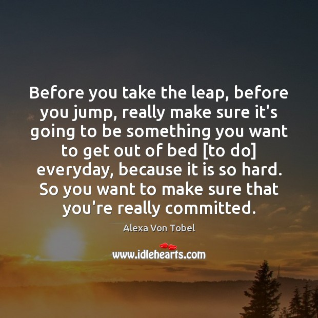 Image, Before you take the leap, before you jump, really make sure it's