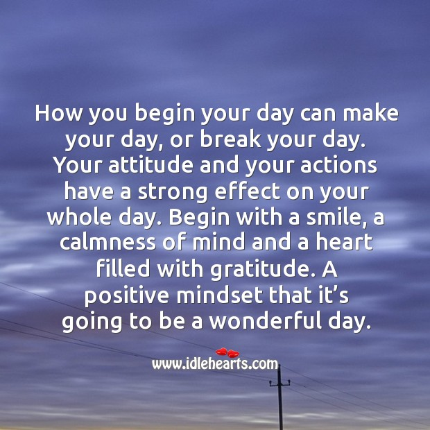Good Day Quotes image saying: Begin your day with a smile and a heart filled with gratitude.