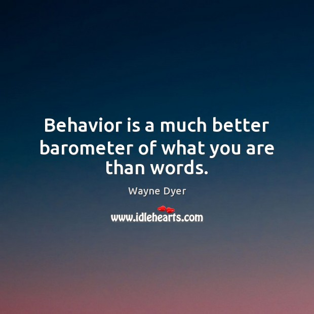 Image, Behavior is a much better barometer of what you are than words.