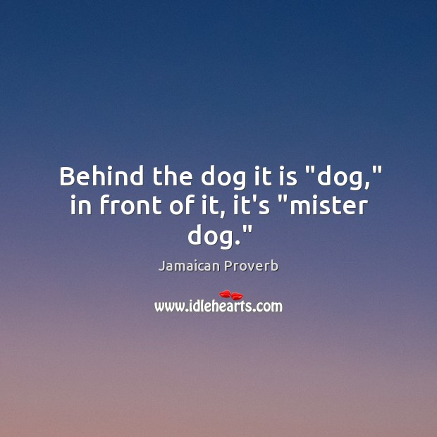 """Behind the dog it is """"dog,"""" in front of it, it's """"mister dog."""" Jamaican Proverbs Image"""