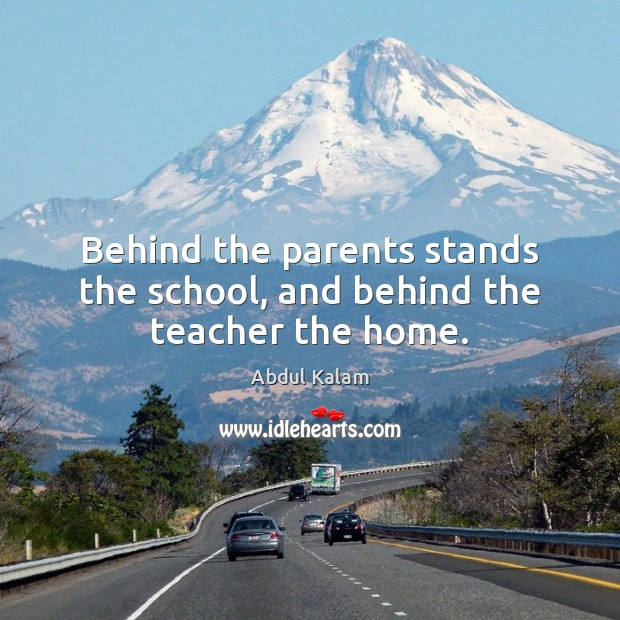 Image, Behind the parents stands the school, and behind the teacher the home.