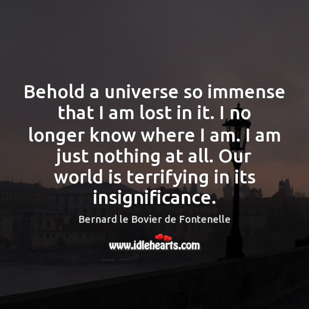 Image, Behold a universe so immense that I am lost in it. I