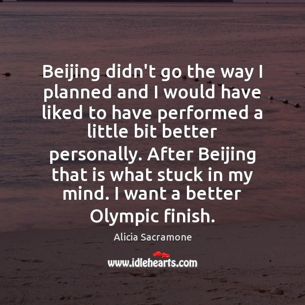 Beijing didn't go the way I planned and I would have liked Image