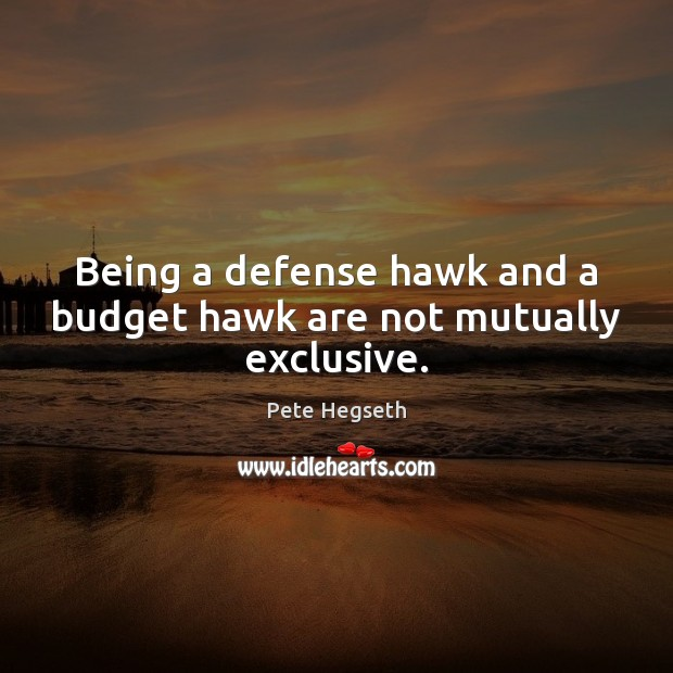 Being a defense hawk and a budget hawk are not mutually exclusive. Pete Hegseth Picture Quote