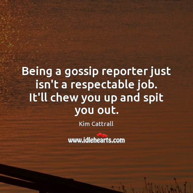 Being a gossip reporter just isn't a respectable job. It'll chew you up and spit you out. Kim Cattrall Picture Quote