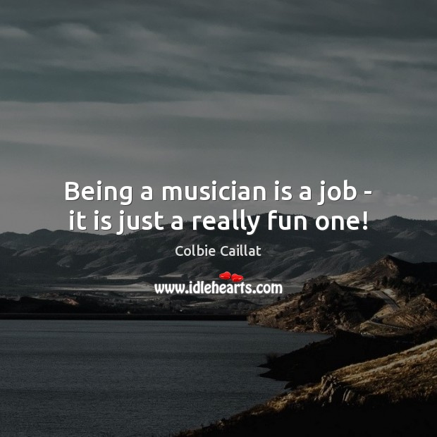 Being a musician is a job – it is just a really fun one! Colbie Caillat Picture Quote