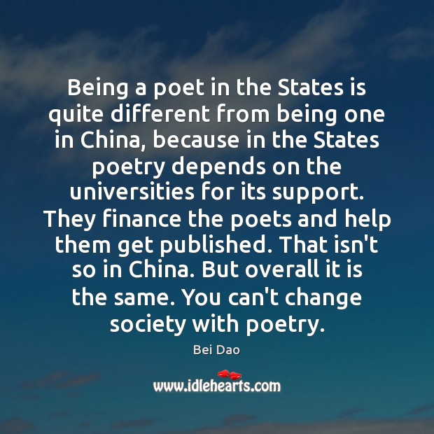 Image, Being a poet in the States is quite different from being one