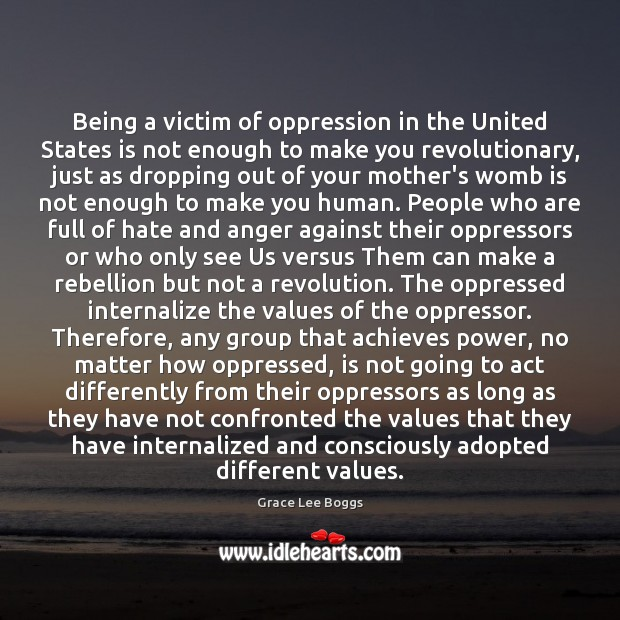 Being a victim of oppression in the United States is not enough Image
