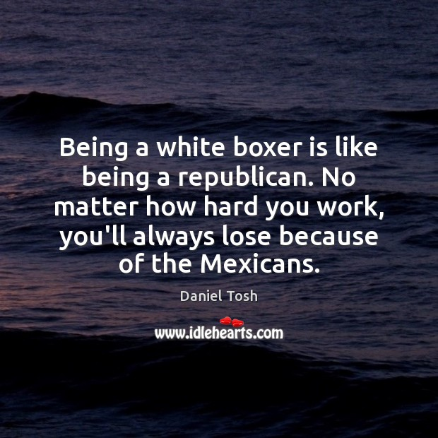 Being a white boxer is like being a republican. No matter how Daniel Tosh Picture Quote