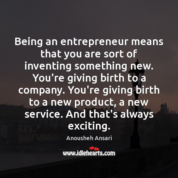 Image, Being an entrepreneur means that you are sort of inventing something new.