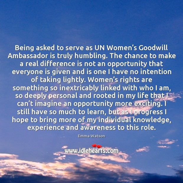 Being asked to serve as UN Women's Goodwill Ambassador is truly Image